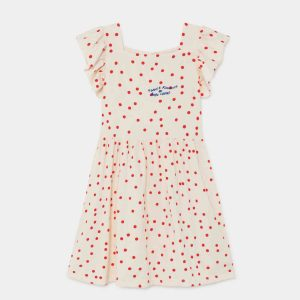Bobo Choses  - DOTS JERSEY RUFFLE DRESS TURTLEDOVE - Clothing