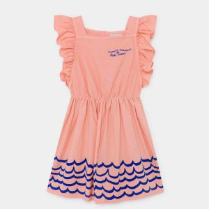 Bobo Choses  - WAVES WOVEN RUFFLE DRESS BLOOMING DAHLIA - Clothing