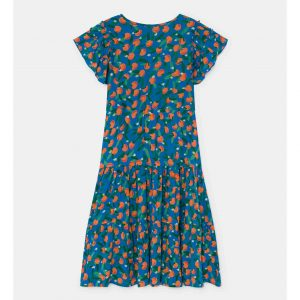 Bobo Choses  - ALL OVER ORANGES FLAMENCO DRESS AZURE BLUE - Clothing