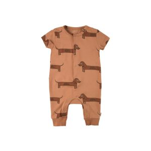 Tinycottons  - IL BASSOTTO ONE-PIECE TAN DARK BROWN - Clothing