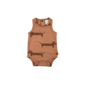 Tinycottons  - IL BASSOTTO BODY TAN DARK BROWN - Clothing