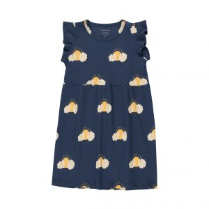 Tinycottons  - SLEEPY SUN DRESS LIGHT NAVY YELLOW - Clothing