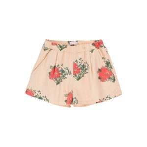 Tinycottons  - FLOWERS PLEATED SHORT CAPPUCCINO RED - Clothing