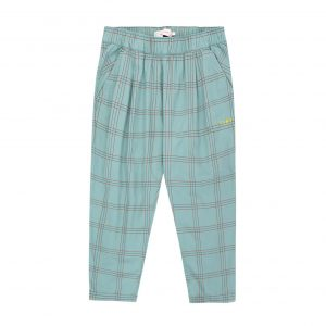 Tinycottons  - CHECK PLEATED PANTS SEA GREEN RED - Clothing