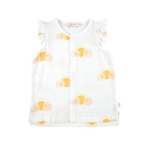 Tinycottons  - SLEEPY SUN FRILLS BLOUSE OFF-WHITE YELLOW - Clothing