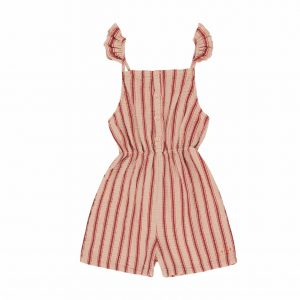 Tinycottons  - RETRO STRIPES ROMPER LIGHT NUDE DARK BROWN - Clothing