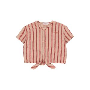 Tinycottons  - RETRO STRIPES TIE FRONT TOP LIGHT NUDE DARK BROWN - Clothing
