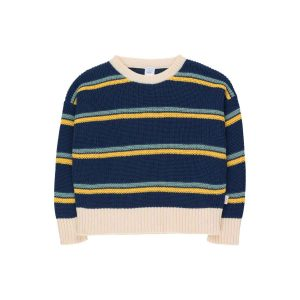Tinycottons  - STRIPES SWEATER LIGHT NAVY YELLOW SEA GREEN - Clothing