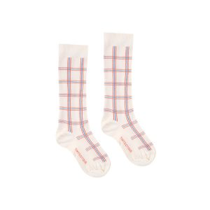 Tinycottons  - CHECK HIGH SOCKS LIGHT CREAM RED - Clothing
