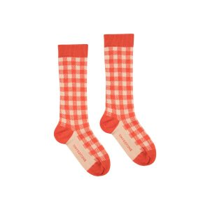 Tinycottons  - VICHY HIGH SOCKS SUMMER NAVY CAPPUCCINO - Clothing