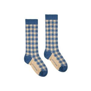 Tinycottons  - VICHY HIGH SOCKS RED LIGHT NUDE - Clothing
