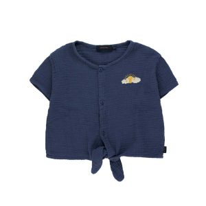 Tinycottons  - SLEEPY SUN TIE FRONT TOP LIGHT NAVY - Clothing