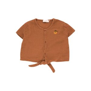 Tinycottons  - ORANGE TIE FRONT TOP CINNAMON - Clothing