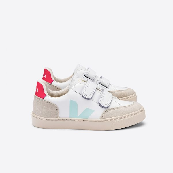 Veja  - V-12 VELCRO LEATHER EXTRA WHITE MENTHOL ROSE FLUO - Footwear