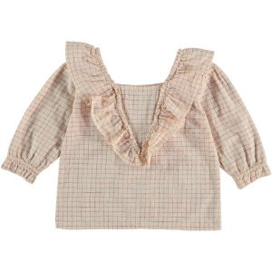 The New Society  - BOUQUET BLOUSE RED CHECK - Clothing