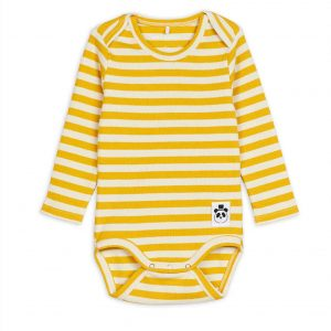Mini Rodini  - STRIPE LONG SLEEVE BODY YELLOW - Clothing