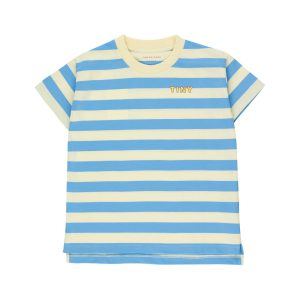 Tinycottons  - TINY STRIPES TEE LEMONADE CERULEAN BLUE - Clothing