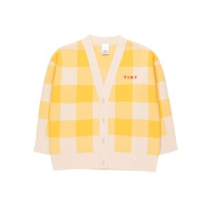 Tinycottons  - BIG CHECK CARDIGAN LIGHT CREAM YELLOW - Clothing