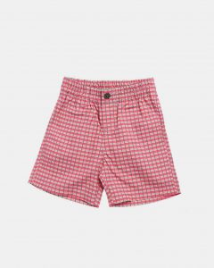 Caramel  - BARBICAN BERMUDAS RED PAINTED CHECK - Clothing