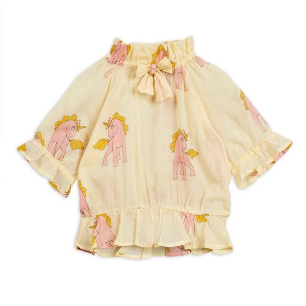 Mini Rodini  - UNICORNS BOW BLOUSE YELLOW - Clothing