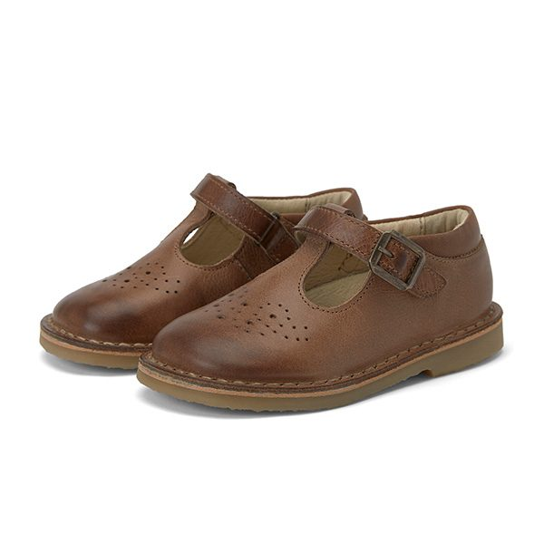 Young Soles  - PENNY T-BAR SHOE TAN BURNISHED LEATHER - Footwear