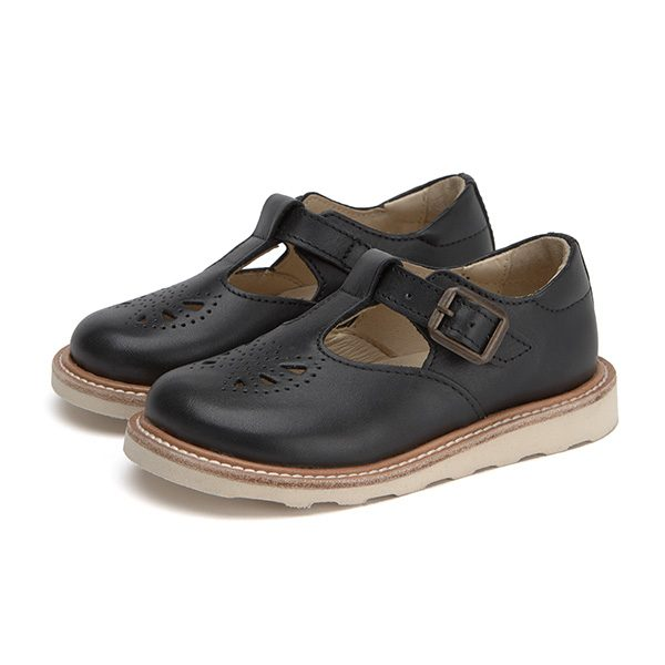 Young Soles  - ROSIE T-BAR SHOE BLACK LEATHER - Footwear