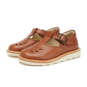 Young Soles  - ROSIE T-BAR SHOE CHESTNUT BROWN LEATHER - Footwear