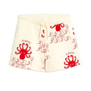 Mini Rodini  - OCTOPUS SWEATSHORTS OFFWHITE - Clothing