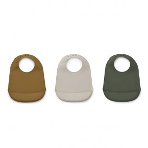 Liewood  - MARU SILICONE BIB HUNTER GREEN MULTI MIX - 3 PACK - Homeware