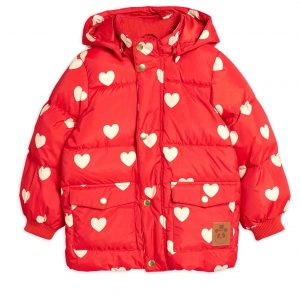 Mini Rodini  - HEARTS PUFFER JACKET RED - Clothing