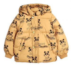 Mini Rodini  - MOZART PANDA PUFFER JACKET BEIGE - Clothing