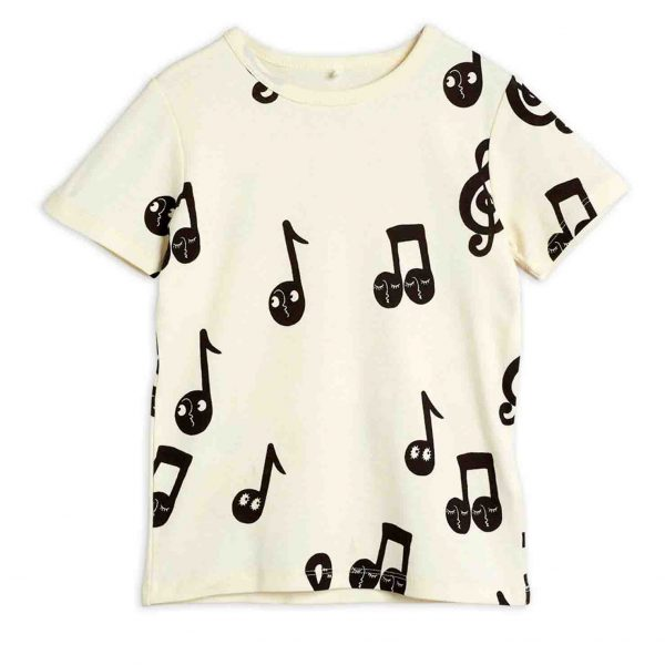 Mini Rodini  - NOTE ALL OVER T-SHIRT OFFWHITE - Clothing
