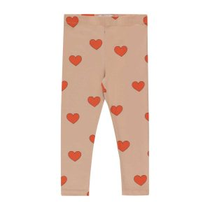 Tinycottons  - HEARTS PANT LIGHT NUDE RED - Clothing
