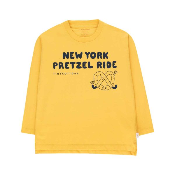 Tinycottons  - PRETZEL RIDE TEE YELLOW LIGHT NAVY - Clothing