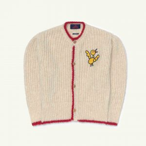 The Animals Observatory  - PARROT KIDS CARDIGAN WHITE BIRD - Clothing