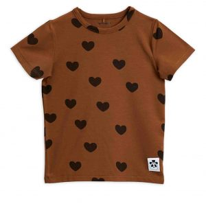 Mini Rodini  - BASIC HEARTS T-SHIRT BROWN - Clothing