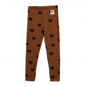 Mini Rodini  - BASIC HEARTS LEGGINGS BROWN - Clothing