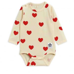 Mini Rodini  - BASIC HEARTS LONG SLEEVE BODY OFF WHITE - Clothing