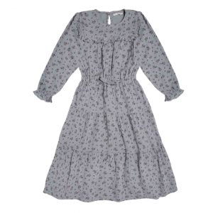 The New Society  - SARAH DRESS  SOFT BLUE FLOWER - Clothing