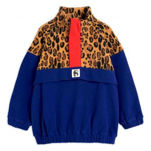 Mini Rodini  - LEOPARD FLEECE ZIP PULLOVER BEIGE - Clothing