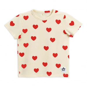 Mini Rodini  - BASIC HEARTS T-SHIRT OFFWHITE - Clothing
