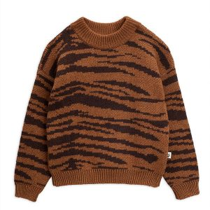 Mini Rodini  - TIGER KNITTED SWEATER BROWN - Clothing