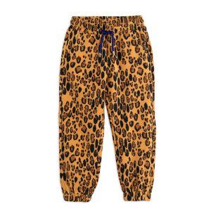 Mini Rodini  - LEOPARD FLEECE TROUSERS BEIGE - Clothing