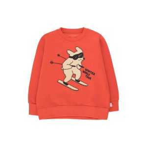 Tinycottons  - SKIING DOG SWEATSHIRT RED CAPPUCCINO - Clothing