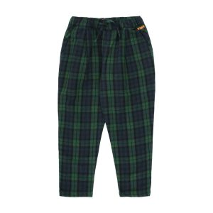 Tinycottons  - CHECK PLEATED PANT LIGHT NAVY DARK GREEN - Clothing