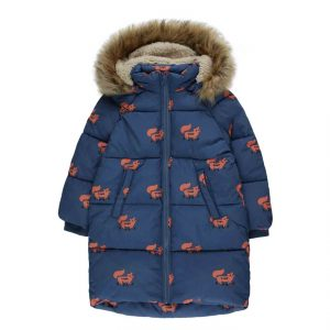 Tinycottons  - FOXES PADDED JACKET LIGHT NAVY SIENNA - Clothing