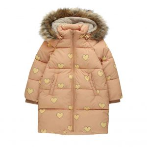 Tinycottons  - HEARTS PADDED JACKET CAMEL YELLOW - Clothing
