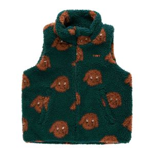 Tinycottons  - TINY DOG SHERPA VEST DARK GREEN SIENNA - Clothing