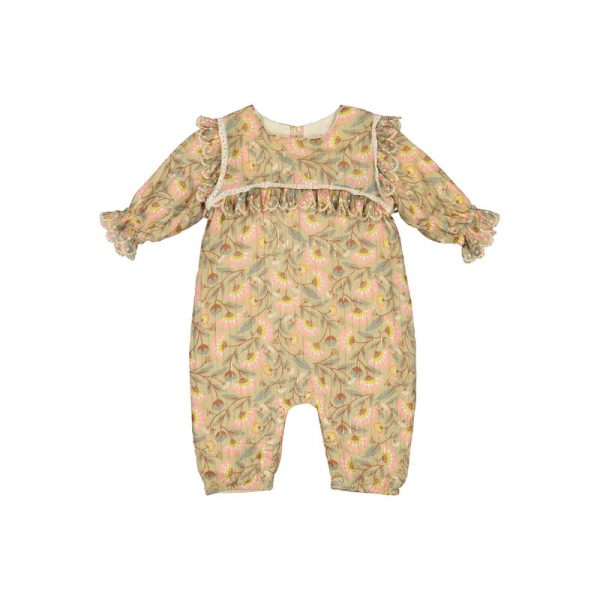 Louise Misha  - JUMPSUIT MACESTI KHAKI FOLK FLOWERS - Clothing