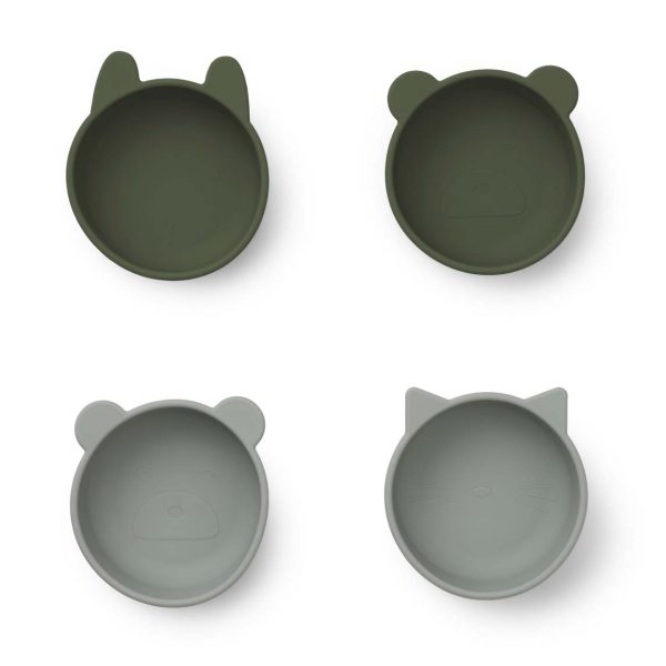 Liewood  - IGGY SILICONE BOWLS 4-PACK HUNTER GREEN MIX - Homeware